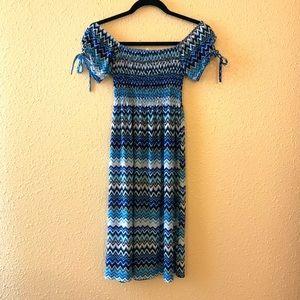 Chevron Smocked Midi Dress